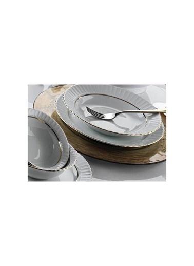 Kütahya Porselen Kütahya porselen tabak sedef yaldızlı 22 cm.yemek tabağı 6 lı Renkli